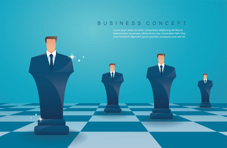 concepto de estrategia de negocio empresario ajedrez figura vector