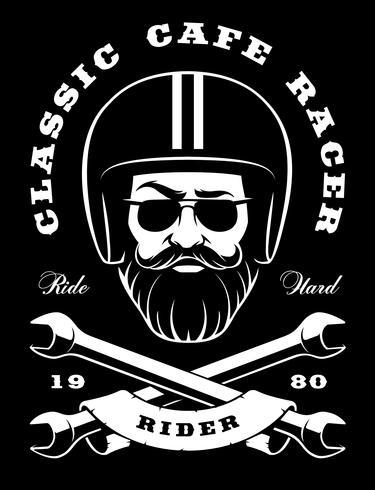 Motociclista com barba e chaves cruzadas em fundo escuro