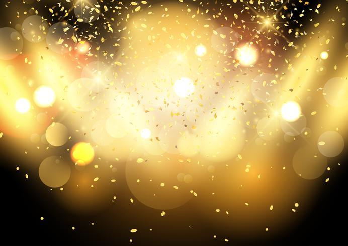 Gouden bokeh licht achtergrond met confetti
