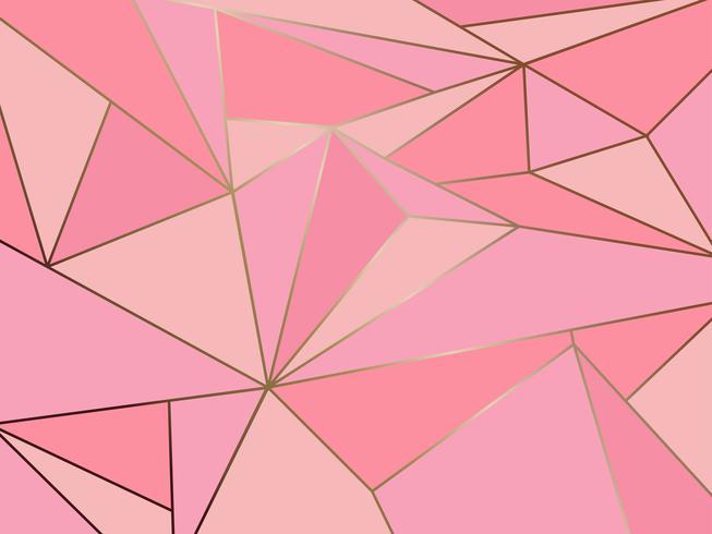 Astratto geometrico poligono rosa astratto con sfondo linea d'oro vettore