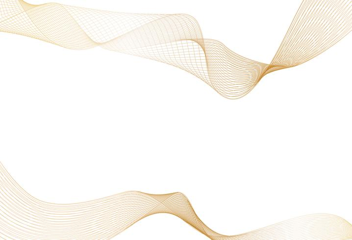 Abstract of shiny gold luxury wave line art design element on white background