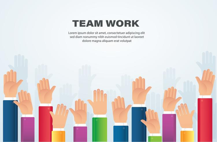 Raised hands. team work concept. background