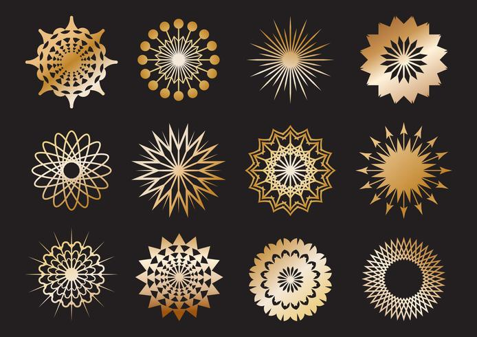 Set of golden geometric shape and design elements