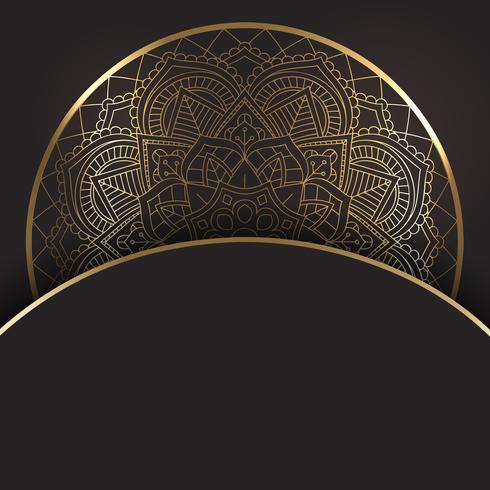 Oro decorativo y diseño mandala negro. vector