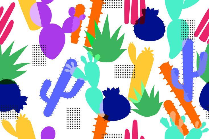 Modelo inconsútil abstracto del fondo colorido del cactus vector