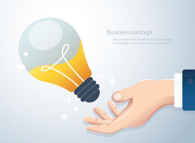 mano que sostiene la bombilla, concepto de fondo de pensamiento creativo vector