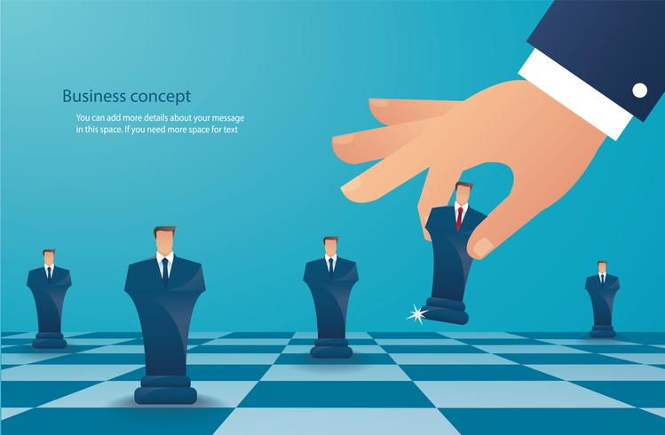 businessman play chess figure. business strategy concept