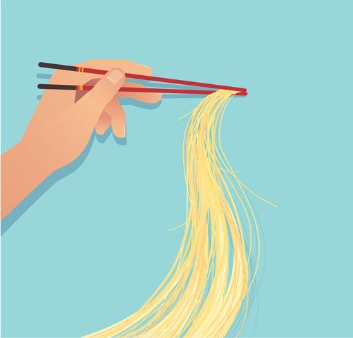 palillos de mano con comida asiática de fideos vector