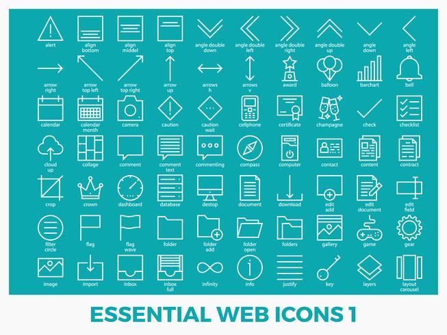 Iconos web mezclados esenciales