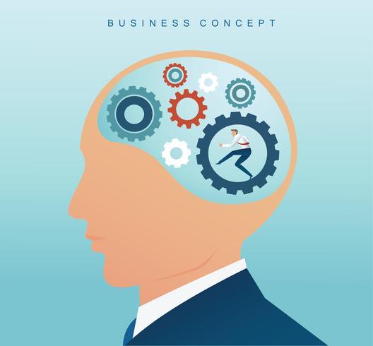 zakenman met tandwielen wiel in de hersenen. concept van creatief denken vector