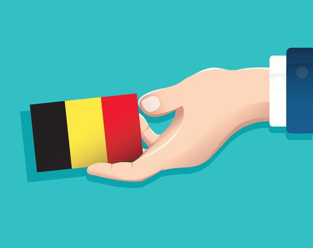 hand holding Belgium flag card with blue background.
