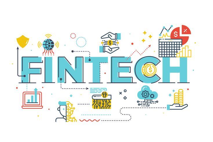 Illustration de lettrage de mot Fintech (Financial Technology) vecteur