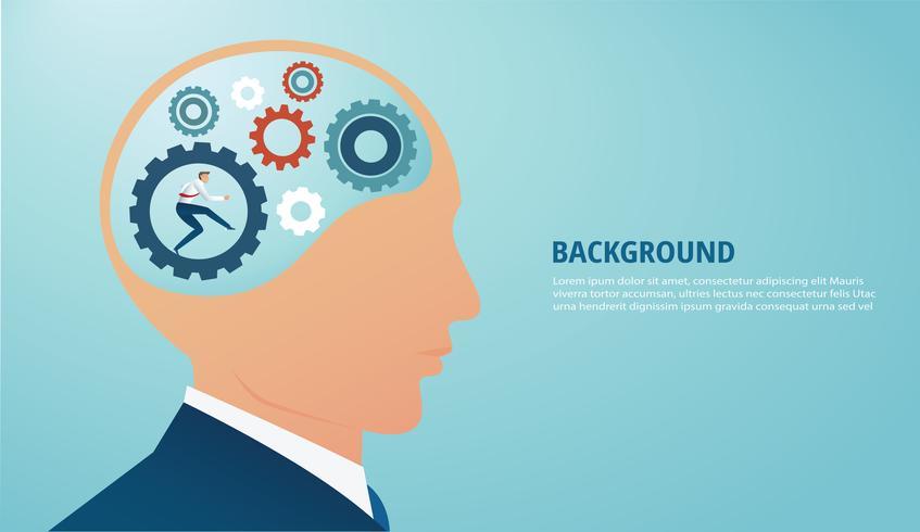 Hombre de negocios con dientes rueda en el cerebro. concepto de pensamiento creativo. vector