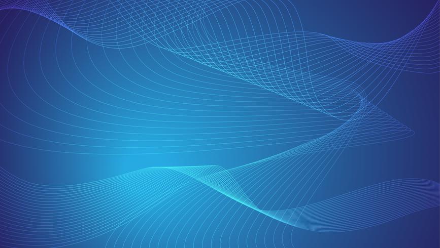 Le linee blu e bianche astratte ondeggiano l'illustrazione di vettore del fondo