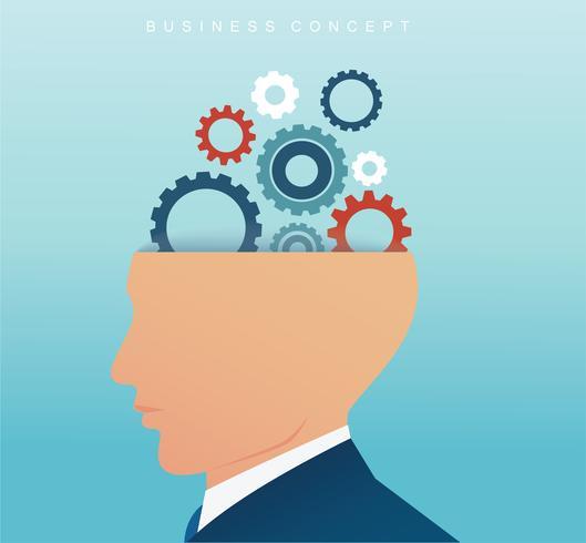 homme d'affaires avec la roue dentée dans le cerveau. concept de pensée créatrice.