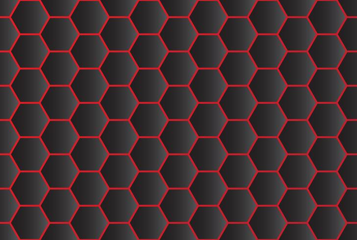 Seamless pattern of abstract black hexagon background with red line