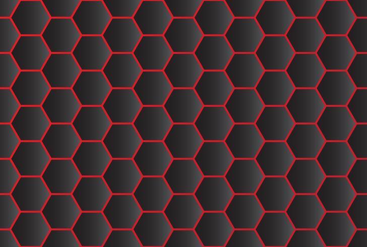 Naadloos patroon van abstracte zwarte hexagon achtergrond met rode lijn