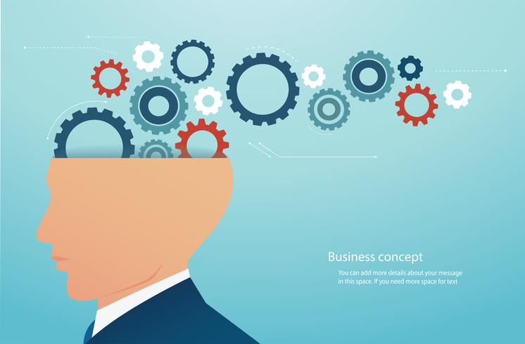 empresário com engrenagens roda no cérebro. conceito de pensamento criativo.