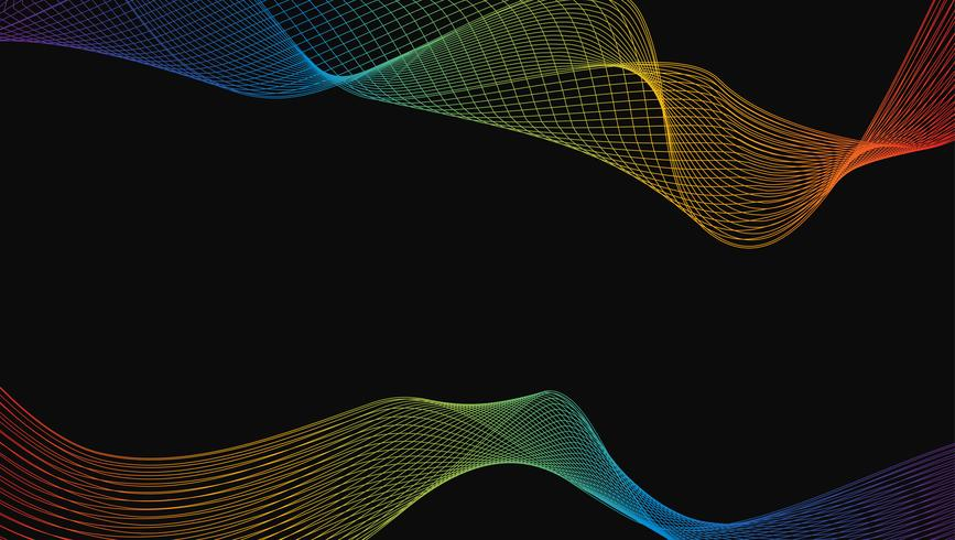 Resumo de elemento de design de arte de linha de onda de luxo arco-íris brilhante em fundo preto