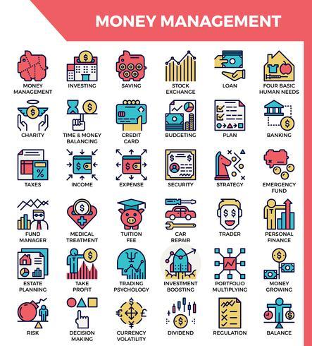 Iconos de gestion de dinero vector