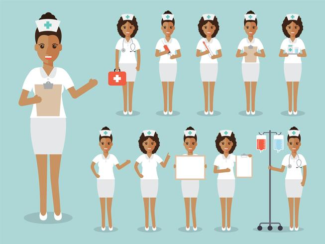 Conjunto de enfermera africana, personal médico. vector