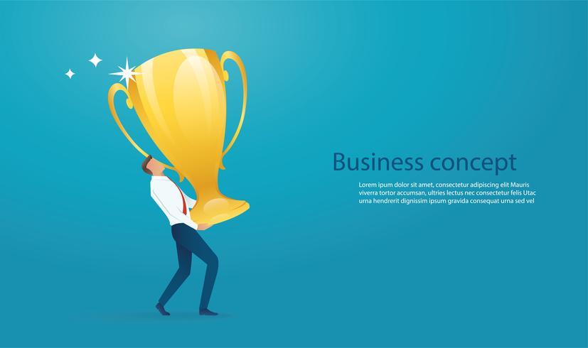 businessman lift the big gold trophy up.
