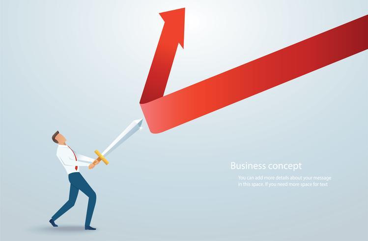 empresario sosteniendo la espada para proteger la flecha hacia abajo ilustración vectorial vector