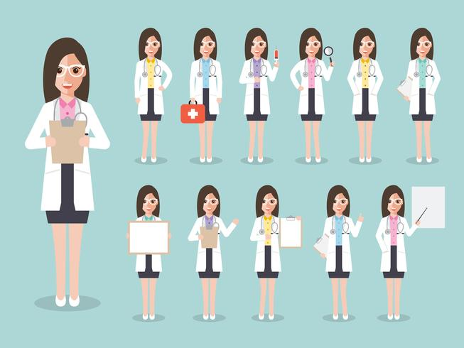 Set of young doctor, medical staff.