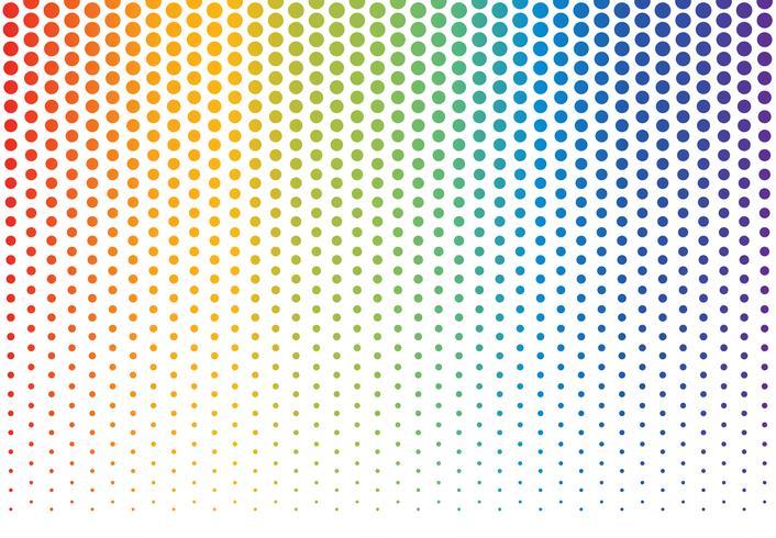Ilustración vectorial de fondo de lunares de arco iris