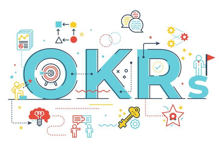OKRs (objetivos e principais resultados) palavra letras ilustração