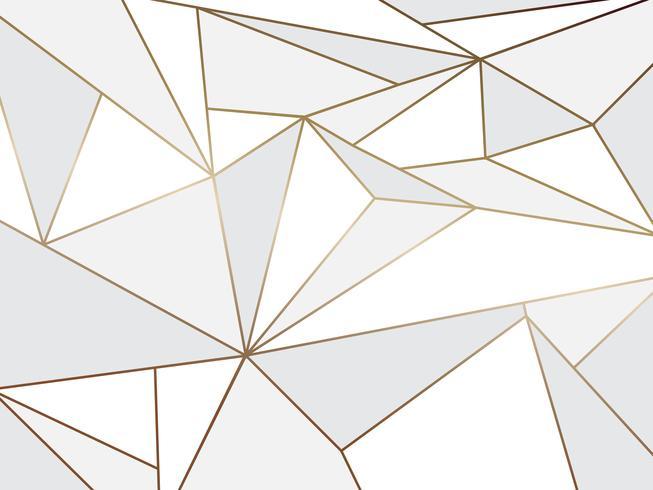 Künstlerisches geometrisches des abstrakten weißen Polygons mit Goldlinie Hintergrund