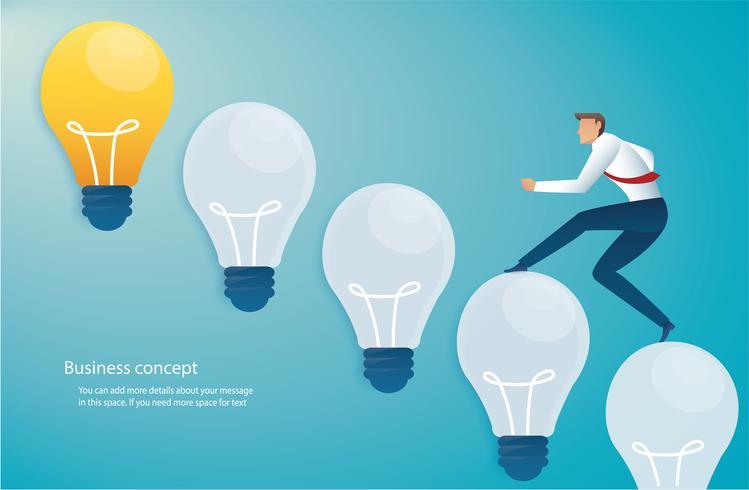 löpande affärsman på lampa idé begrepp