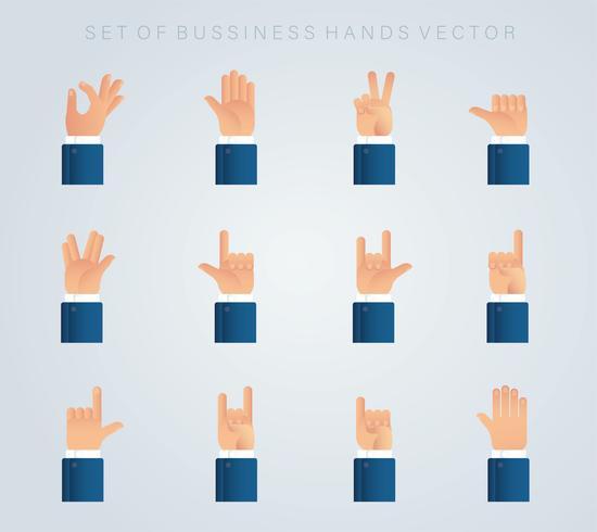 conjunto de mãos de negócios