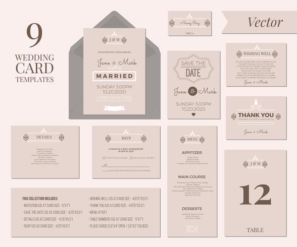 Plantilla de invitación de boda vector