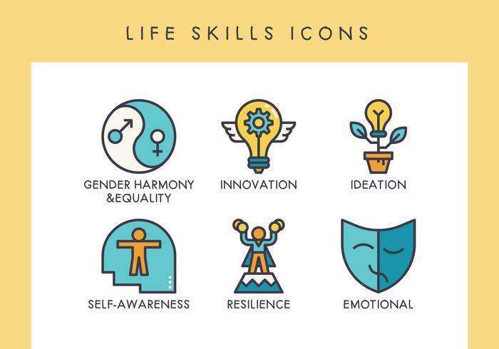 Ícones de habilidades de vida vetor