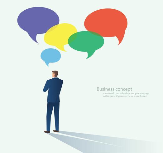 Zakenlieden met praatjebel. communicatie concept vector
