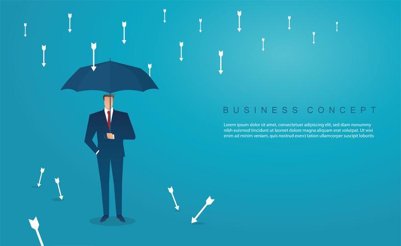 empresario usa paraguas para proteger la flecha hacia abajo