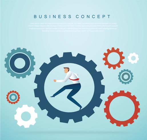 businessman running in gears. business concept