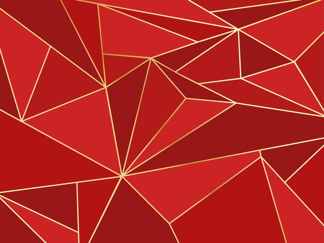 Künstlerisches geometrisches des abstrakten roten Polygons mit Goldlinie Hintergrund