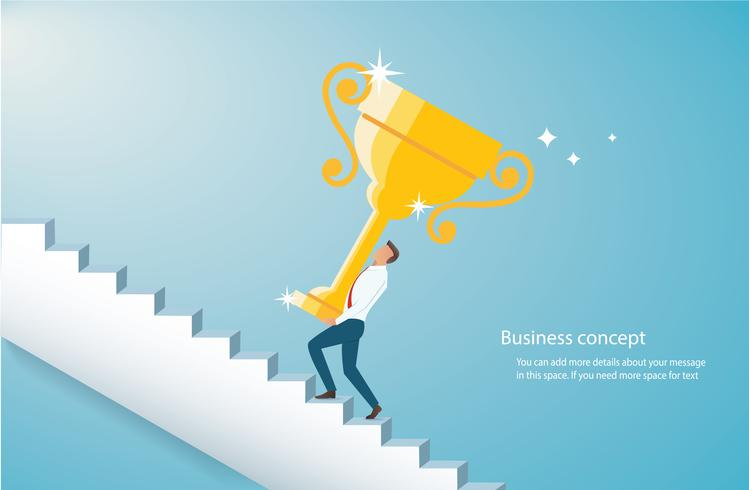 man holding the gold trophy climbing  stairs to success  vector