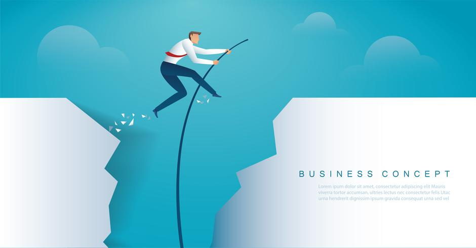 zakenman die met polsstokspringen springt om het doel te bereiken.