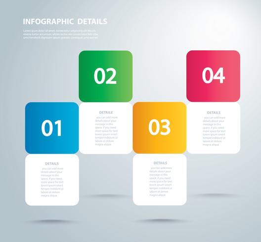 Plantilla de vector gráfico de información cuadrada con 4 opciones. Puede ser utilizado para web, diagrama, gráfico, presentación, gráfico, informe, infografía paso a paso. Fondo abstracto