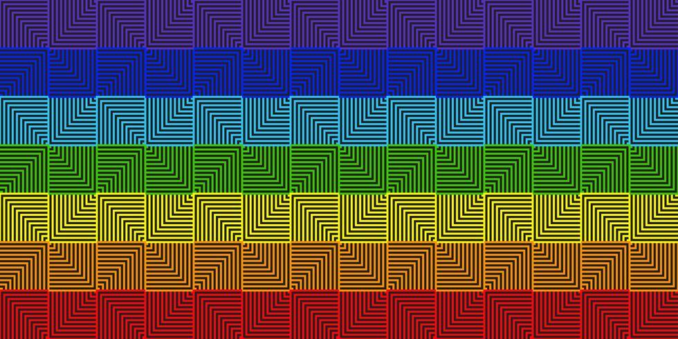 Abstrakt linje kvadratisk regnbåge geometrisk bakgrund - Vektor illustration