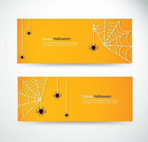 set halloween spider and wab for website headers banner designs vector