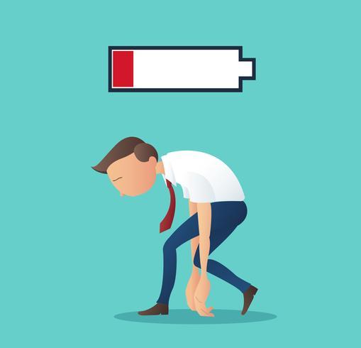 conceito de negócio do empresário cansado de trabalhar com ilustração vetorial de bateria fraca
