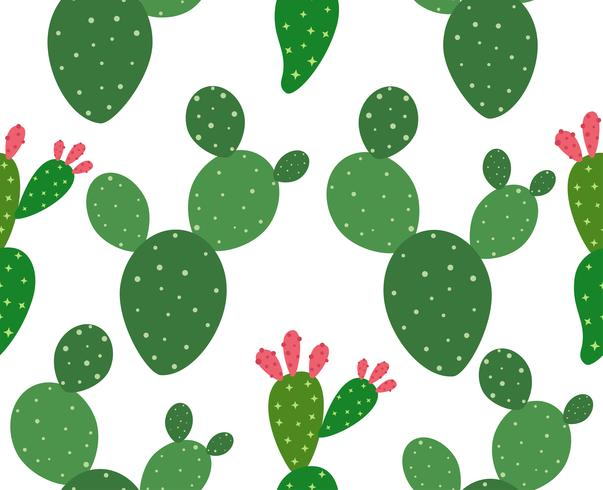 Seamless cactus pattern background - Vector illustration
