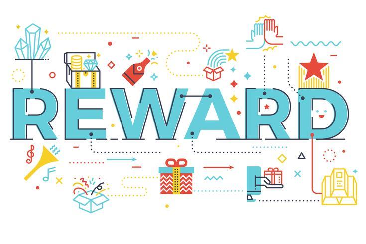 Recompensa, palavra, lettering, ilustração