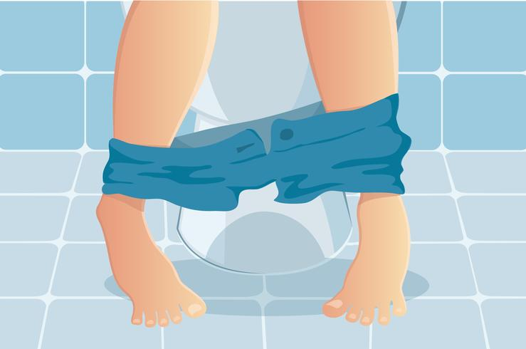 personne assise sur les toilettes souffrant d'illustration vectorielle constipée ou diarrhée vecteur