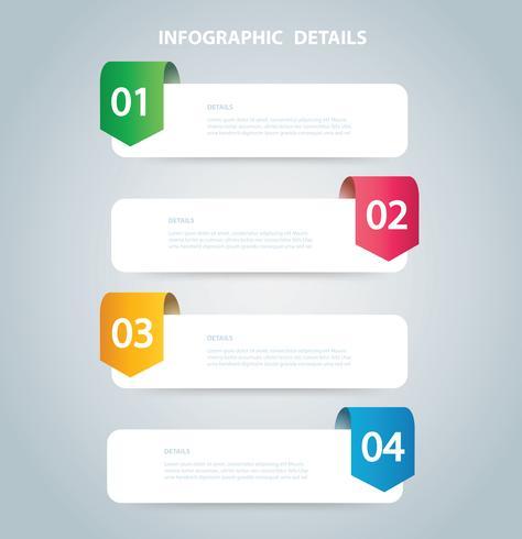 quadratische Infografik Vektor-Vorlage mit 4 Optionen. Kann für Web, Diagramm, Grafik, Präsentation, Diagramm, Bericht, Schritt für Schritt Infografiken verwendet werden. Abstrakter Hintergrund