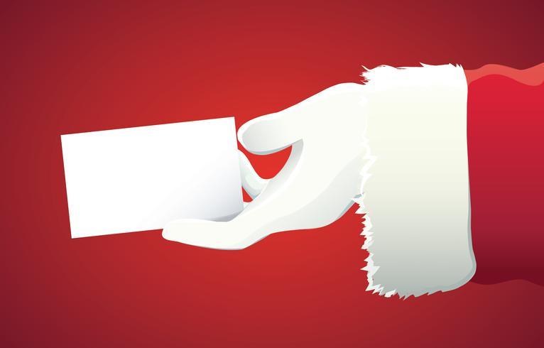 mano de Papá Noel que presenta su texto o producto de Navidad sobre fondo rojo con espacio de copia